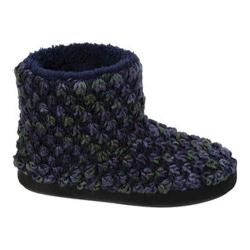 Women's Dearfoams Popcorn Knit Bootie Slipper with Memory Foam Peacoat