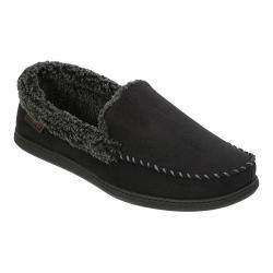 Men's Dearfoams Wide Width Microsuede Moccasin with Memory Foam Black