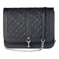 Women's San Diego Hat Company Faux Leather Quilted Crossbody Bag BSB1553 Black