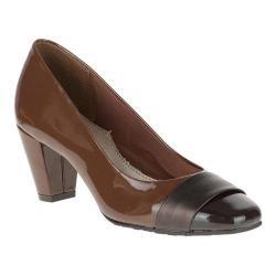 Women's Soft Style Mabry Pump Mid Brown Patent/Gunmetal Vitello