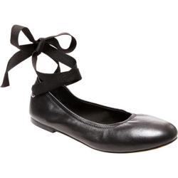 Women's Steve Madden Meow Ankle-Tie Flat Black Leatherr