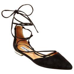 Women's Steve Madden Sunshine Ankle-Tie d'Orsay Flat Black Suede
