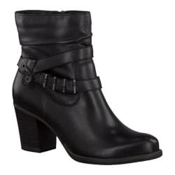 Women's Tamaris Tora Ankle Boot Black Leather/Buckle