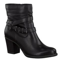Women's Tamaris Tora Ankle Boot Black Leather/Buckle