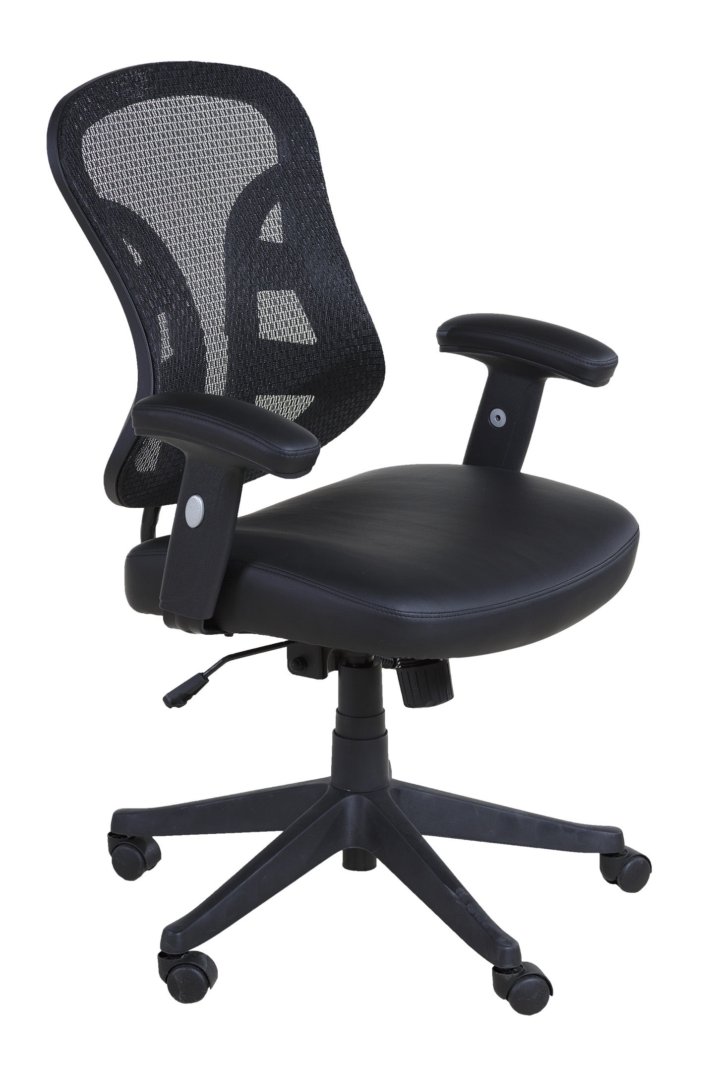 OneSpace 60-90273 Black PU Leather Mid-back Mesh Executive Chair with 2-to-1 Synchro Tilt