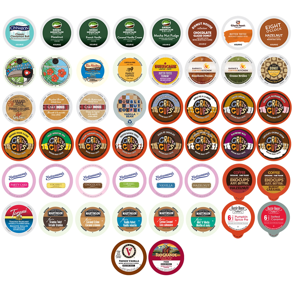 Flavored Coffee Single Serve Cups 50-count Variety Pack Sampler for Keurig K-Cup Brewer