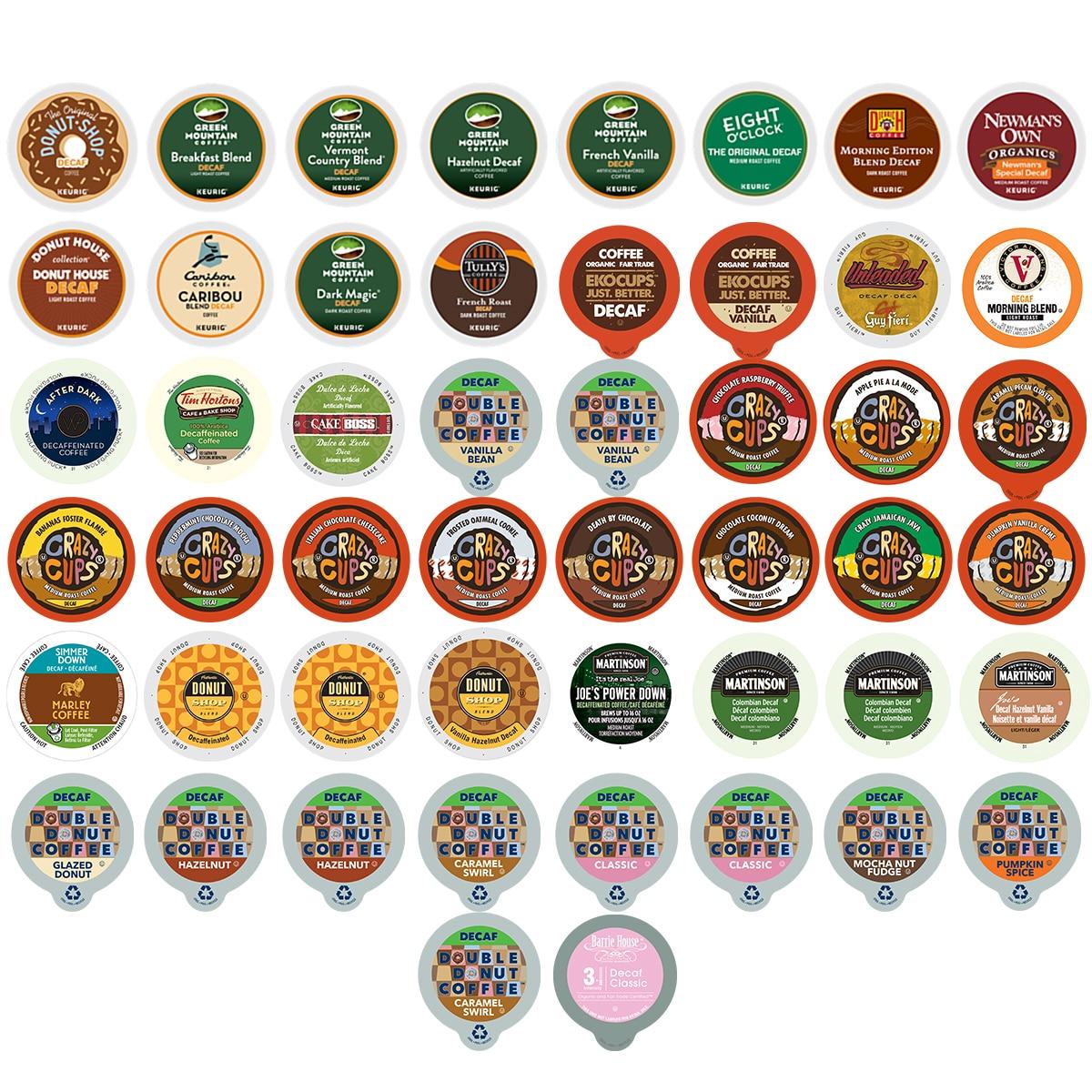 Decaf Coffee Single-serve Cups Variety Pack Sampler for Keurig K Cup Brewer (50 Count)