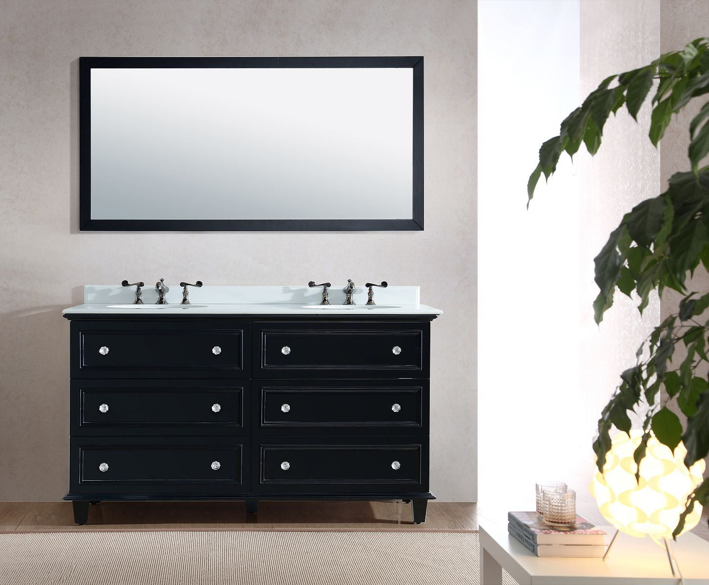 Luna Collection Marble Countertop 60-inch Double Vanity