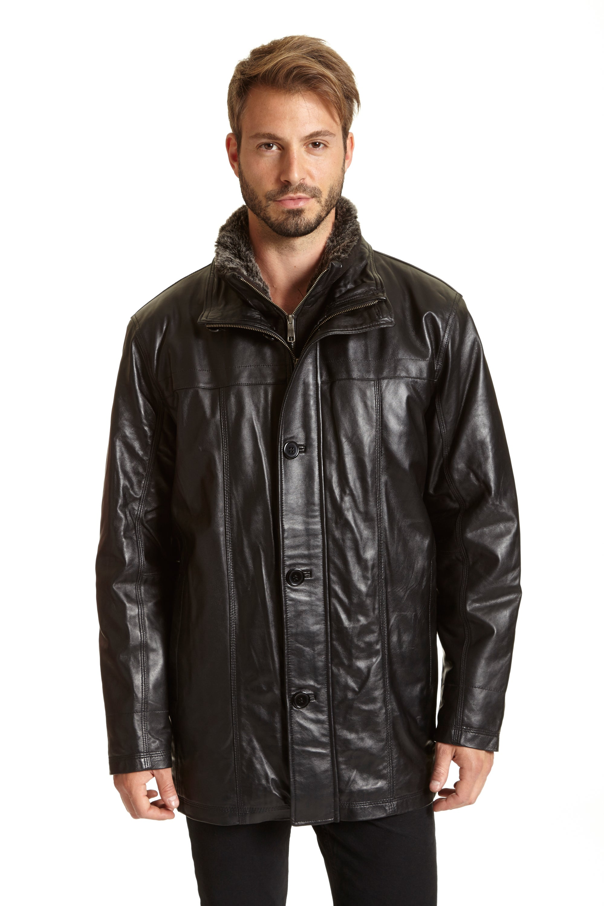 Excelled Men's Black Leather Big and Tall Car Coat