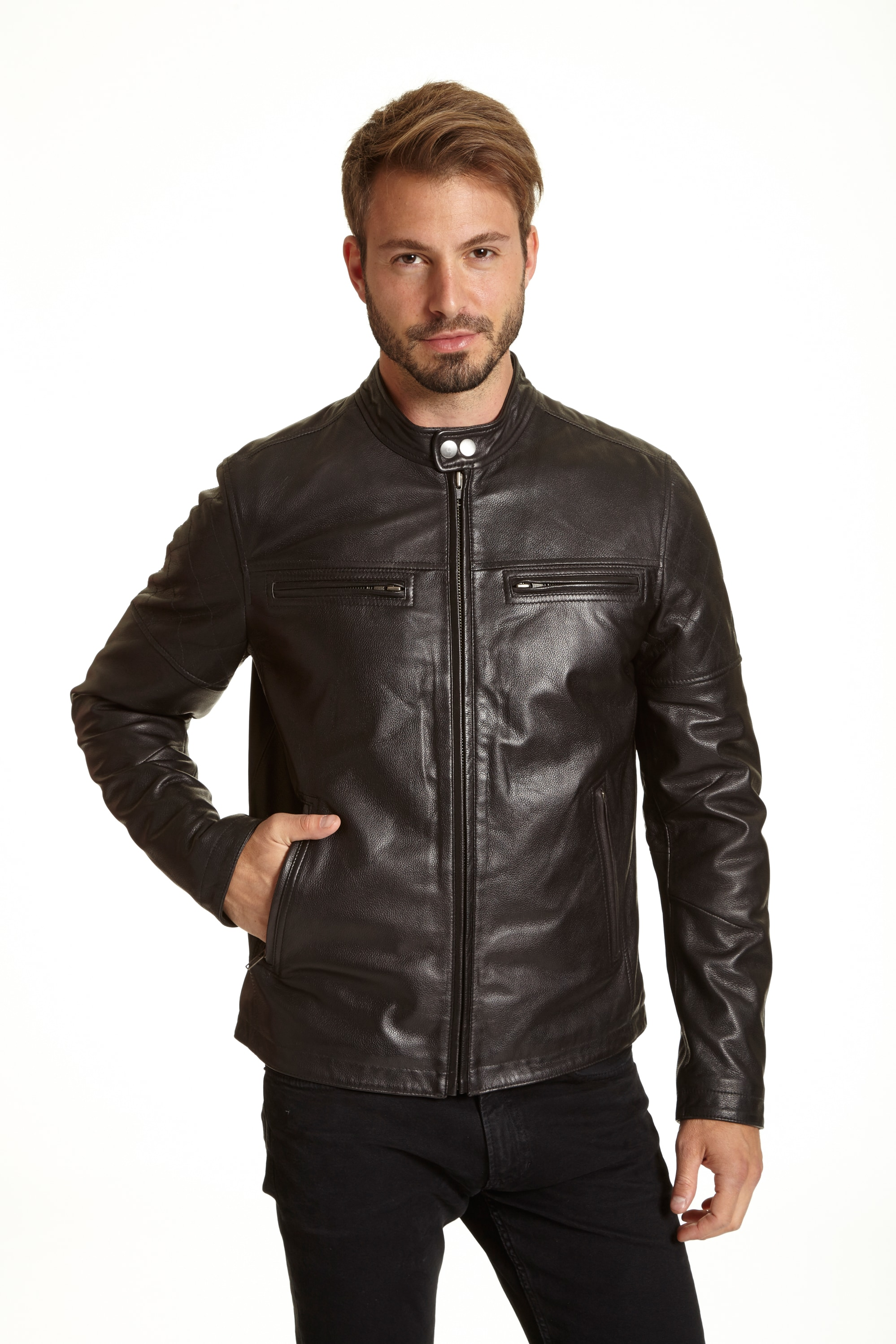 Excelled Men's Big and Tall Leather Racer Jacket