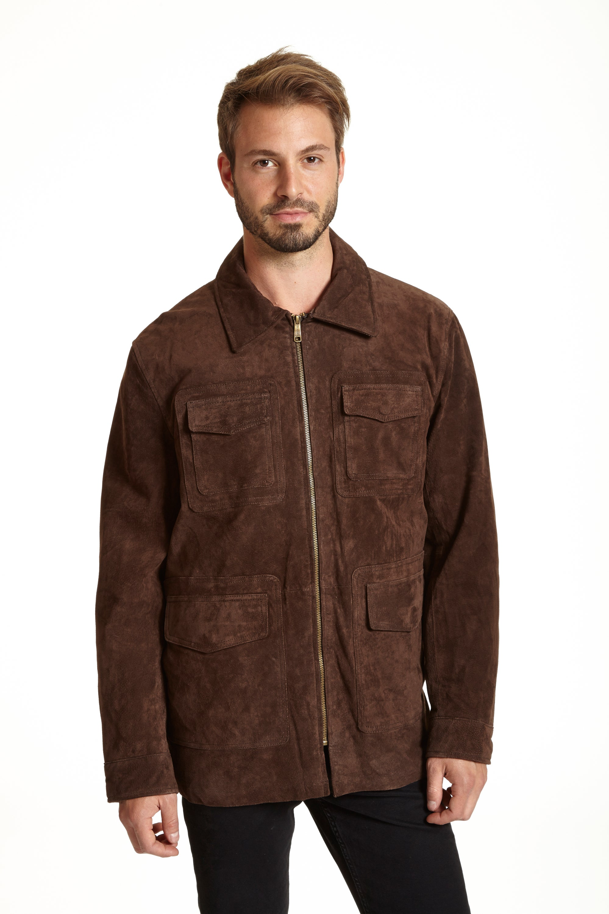 Excelled Men's Beige Suede Shirt Jacket