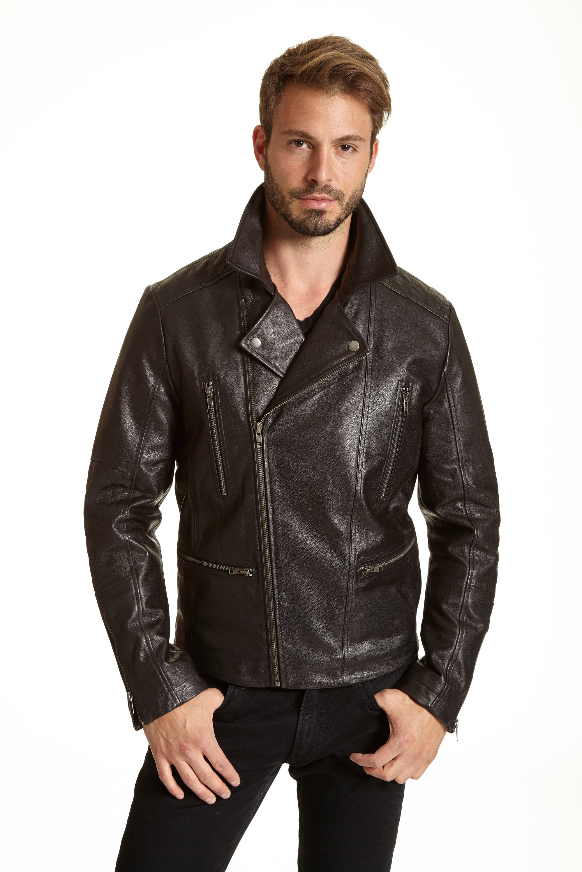 Excelled Men's Leather Classic and Stylish Moto Jacket