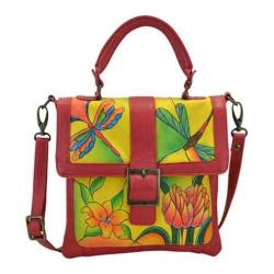 Women's ANNA by Anuschka Hand Painted Flap Saddle Bag 8074 Dragonfly Glass Painting Yellow