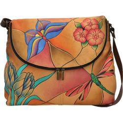 Women's ANNA by Anuschka Hand Painted Large Flap Bag 8090 Jewelled Wing