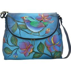 Women's ANNA by Anuschka Hand Painted Large Flap Bag 8090 Lonesome Bird Denim