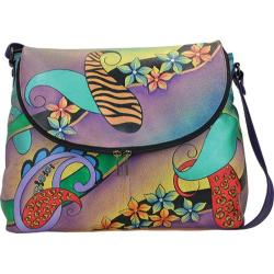 Women's ANNA by Anuschka Hand Painted Large Flap Bag 8090 Paisley Collage Eggplant