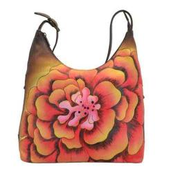Women's ANNA by Anuschka Hand Painted Large Hobo 8079 Marigold Chocolate|https://ak1.ostkcdn.com/images/products/126/92/P19182437.jpg?impolicy=medium