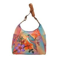 Women's ANNA by Anuschka Hand Painted Large Multi-Pocket 8060 Bird on Branch
