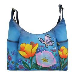 Women's ANNA by Anuschka Hand Painted Large Shoulder Hobo 8082 Floral Garden Denim