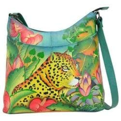 Women's ANNA by Anuschka Hand Painted Leather Large Organizer Crossbody 825 Jungle Leopard