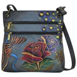 Women's ANNA by Anuschka Hand Painted Leather Medium Crossbody 8201 Rose Safari Grey