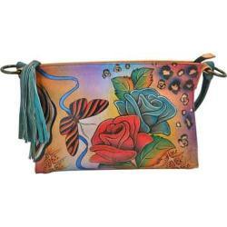 Women's ANNA by Anuschka Hand Painted Shoulder Bag 8043 Rose Safari