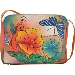Women's ANNA by Anuschka Hand Painted Shoulder Bag 8058 Wild Flower