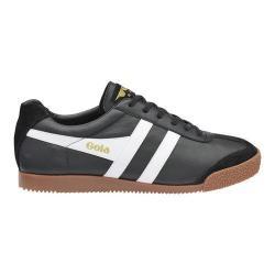 Men's Gola Harrier Leather Sneaker Black/White Leather/Gum Rubber