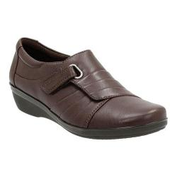 Women's Clarks Everlay Luna Adjustable Strap Shoe Dark Brown Sheep Full Grain Leather