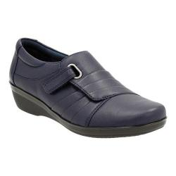 Women's Clarks Everlay Luna Adjustable Strap Shoe Navy Sheep Full Grain Leather