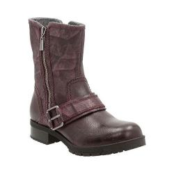 Women's Clarks Faralyn Rise Motorcycle Boot Aubergine Cow Suede/Goat Full Grain Leather