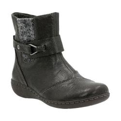 Women's Clarks Fianna Adley Ankle Boot Black Goat Corrected Full Grain Leather