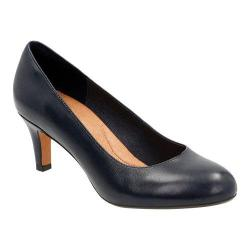 Women's Clarks Heavenly Heart Pump Navy Cow Full Grain Leather