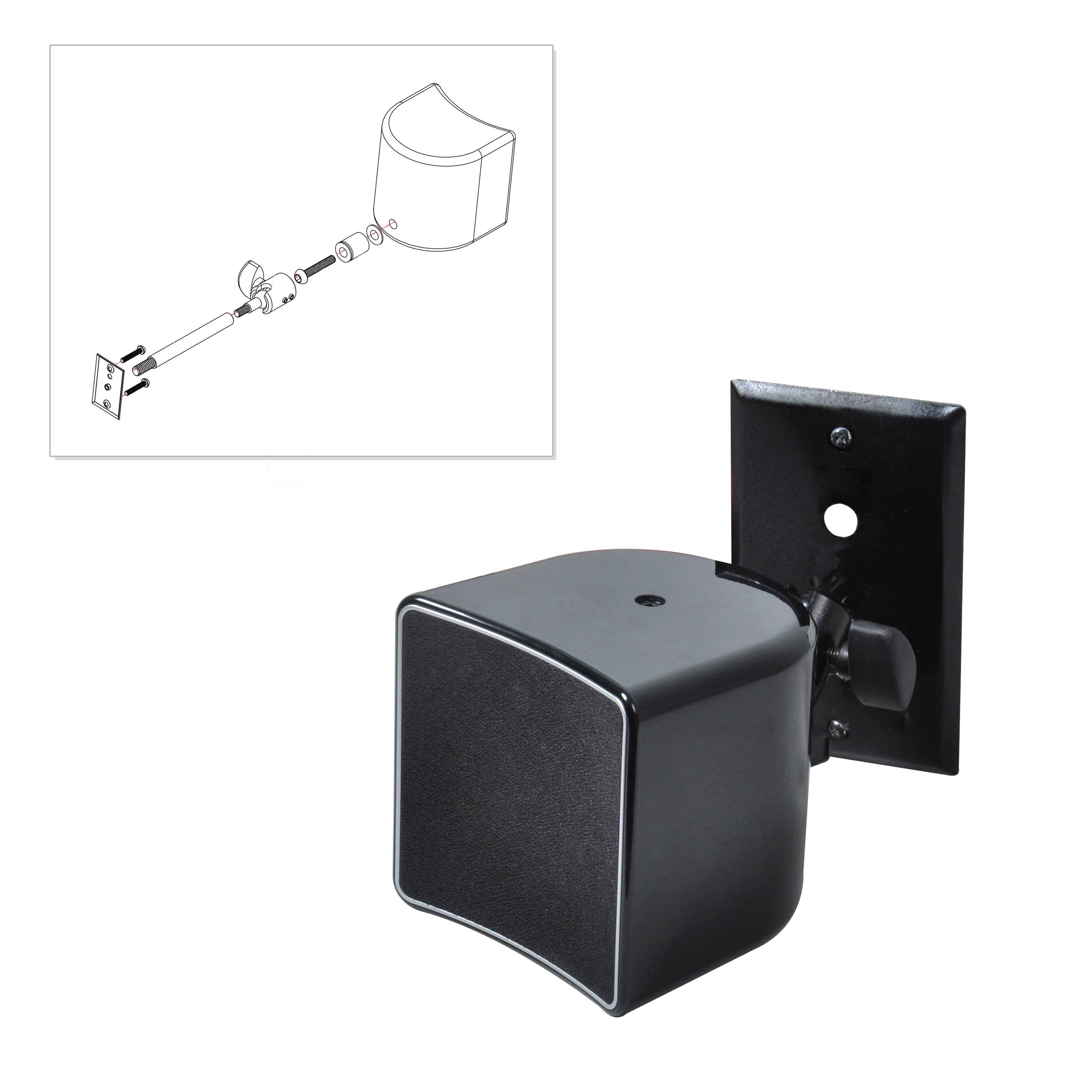 Pyle PSTNDW23 Universal Adjustable Wall Mount Speaker Bracket