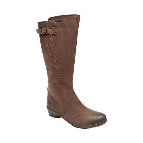 Women's Rockport Cobb Hill Rayna Waterproof Wide Calf Boot Stone Waterproof Leather