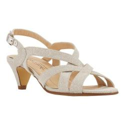 Women's Rose Petals by Walking Cradles Lassie Strappy Sandal Silver Sparkle  Fabric - Thumbnail ...