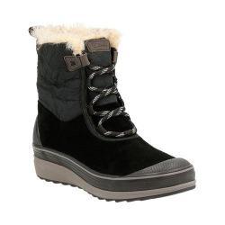 Women's Clarks Muckers Mist Low Waterproof Boot Black Cow Suede/Textile