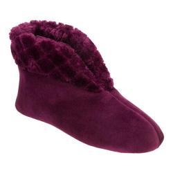 Women's Dearfoams Velour Bootie Slipper with Memory Foam Aubergine