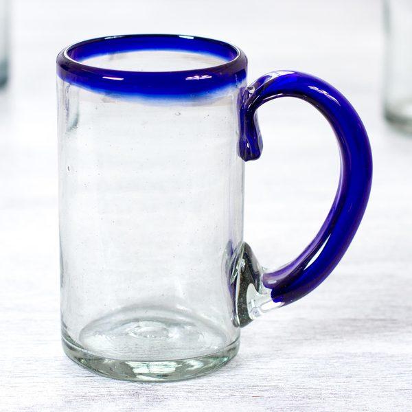 Set of 6 Handmade Blown Glass 'Cobalt Beer' Beer Glasses (Mexico)