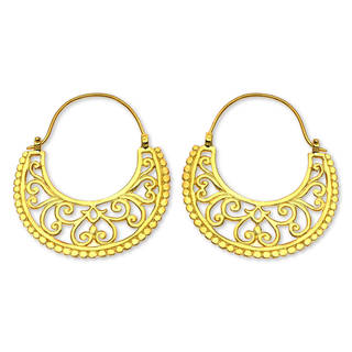 Handcrafted Gold Overlay 'Moonlit Garden' Earrings (Indonesia)