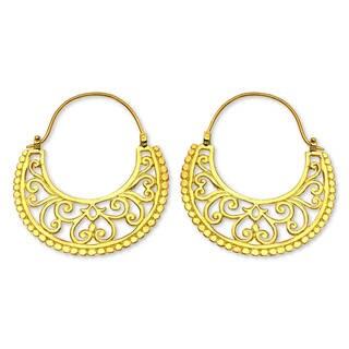 Handmade Gold Overlay 'Moonlit Garden' Earrings (Indonesia)