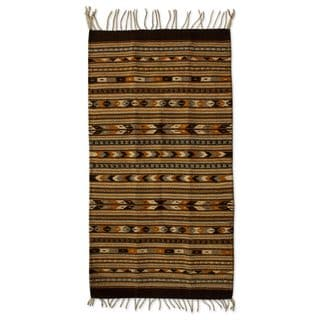 Handcrafted Wool 'Oaxaca Night' Zapotec Area Rug (2x3.5) (Mexico)