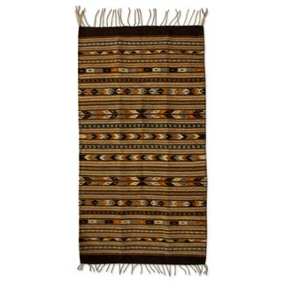 Handmade Wool 'Oaxaca Night' Zapotec Area Rug (2x3.5) (Mexico)
