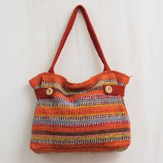 Handcrafted Wool 'Cajamarca Sunset' Shoulder Bag (Peru)