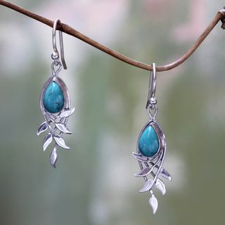 Handcrafted Sterling Silver 'Balinese Bay Leaf' Turquoise Earrings (Indonesia)