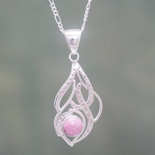 Handcrafted Sterling Silver 'Sweet Pink' Rhodonite Necklace (Peru)