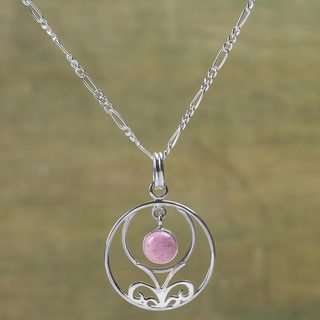 Handcrafted Sterling Silver 'Halo of Grace' Rhodonite Necklace (Peru)