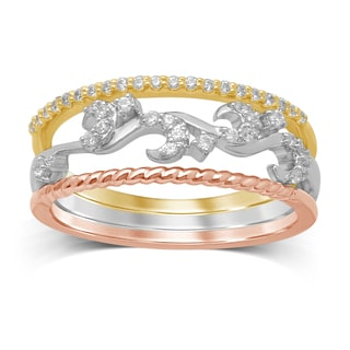 Unending Love White, Yellow, and Rose Gold Diamond Stackable Rings