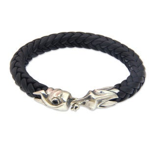 Men's Handcrafted Sterling Silver Leather 'Fireballs' Onyx Bracelet (Indonesia)