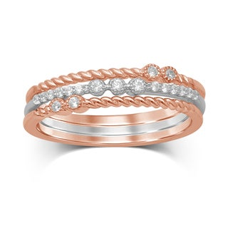 Unending Love Diamond 10k White and Rose Gold Stackable Rings